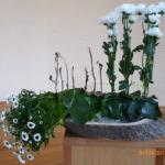 Bloemstuk 10 juni 2018 Job was van voetzool tot kruin overdekt met  kwaadaardige zweren, uitgebeeld door de bloemen links.De zeven dorre takjes verwijzen naar de zeven dagen en nachten die de  3 vrienden (3 bloemstengels) zwijgend naast hem bleven.  De bloemstengels zijn ingebonden, symboliserend de 3 vrienden, die naar Job hun mond dicht hielden.